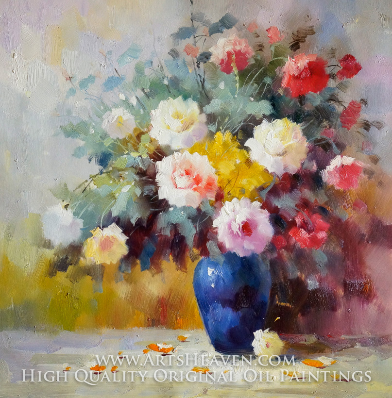 Various Artist, Blue Vase with Colorful Flowers oil painting reproduction