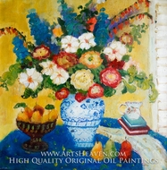 Blue Vase with Various Color Flowers painting reproduction, Various Artist