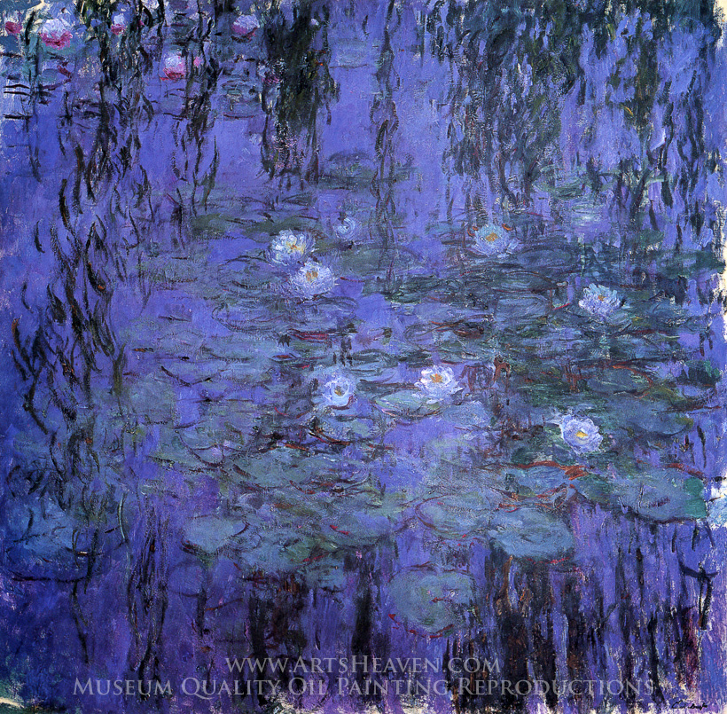 Reproduction Painting Claude Monet Blue Water Lilies Hand Painted