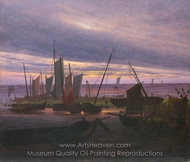 Boats in the Harbour at Evening painting reproduction, Caspar David Friedrich