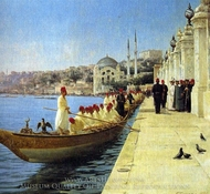 Boats of the Sultan painting reproduction, Fausto Zonaro