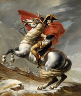 Bonaparte Crossing the Grand Saint-Bernard Pass painting reproduction, Jacques-Louis David
