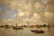 Bordeaux, Boats on the Garonne painting reproduction, Eugene-Louis Boudin