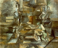 Bottle and Fishes painting reproduction, Georges Braque