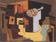 Bottle and Fruit Bowl painting reproduction, Juan Gris