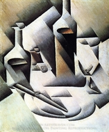 Bottles and Knife painting reproduction, Juan Gris