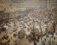 Boulevard des Italiens: Morning, Sunlight painting reproduction, Camille Pissarro
