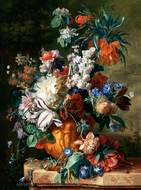 Bouquet of Flowers in an Urn painting reproduction, Jan Van Huysum