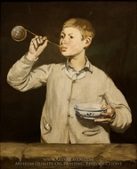Boy Blowing Bubbles painting reproduction, Edouard Manet