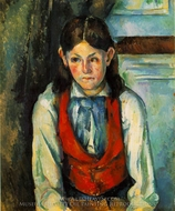 Boy in a Red Vest painting reproduction, Paul Cézanne