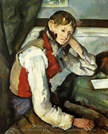Boy in Red Vest painting reproduction, Paul Cézanne