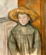 Boy With a Straw Hat painting reproduction, Paul Cézanne