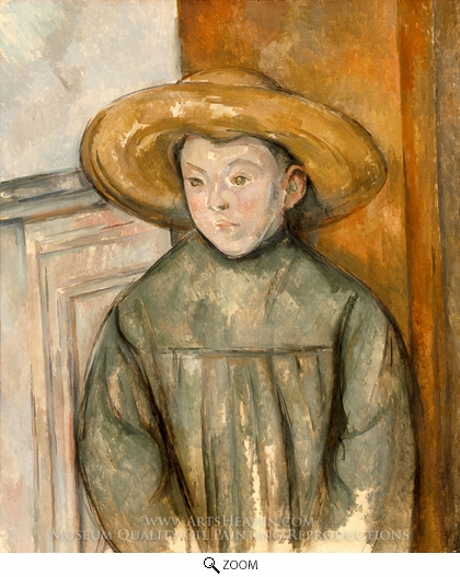 Paul Cezanne, Boy With a Straw Hat oil painting reproduction