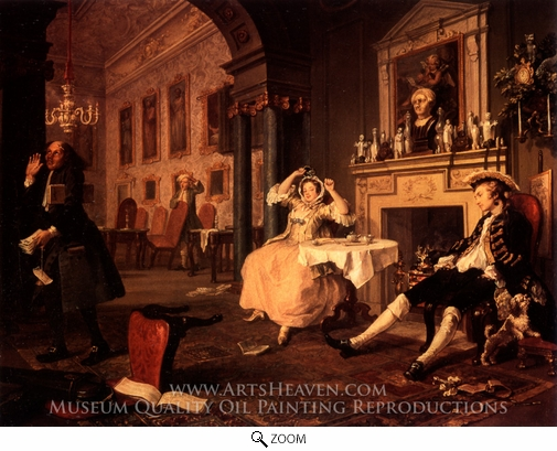 William Hogarth, Breakfast Scene from Marriage a la Mode oil painting reproduction