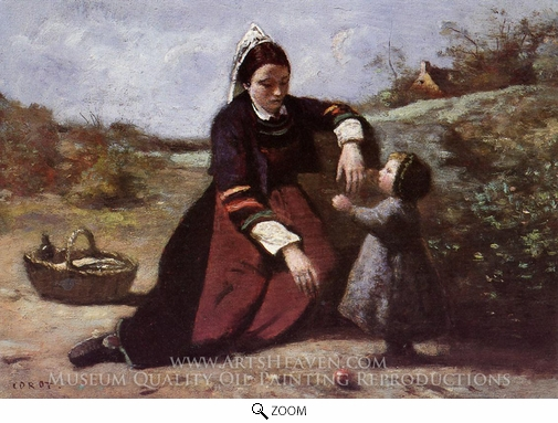 Jean-Baptiste Camille Corot, Breton Woman With Her Little Girl oil painting reproduction