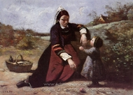 Breton Woman With Her Little Girl painting reproduction, Jean-Baptiste Camille Corot