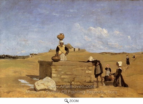 Jean-Baptiste Camille Corot, Breton Women at the Fountain oil painting reproduction