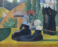 Breton Women with Parasols painting reproduction, Emile Bernard