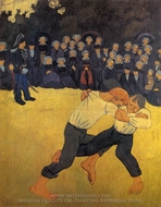 Breton Wrestlers painting reproduction, Paul Serusier