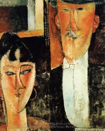 Bride and Groom (The Newlyweds) painting reproduction, Amedeo Modigliani