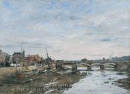 Bridge over the Touques at Trouville painting reproduction, Eugene-Louis Boudin