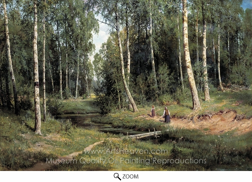 Ivan Shishkin, Brook in Birch Forest oil painting reproduction