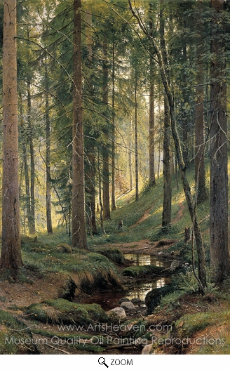 Ivan Shishkin, Brook in Forest oil painting reproduction