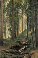 Brook in Forest painting reproduction, Ivan Shishkin