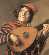 Buffoon Playing a Lute painting reproduction, Frans Hals