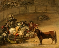 Bullfight, Suerte de Varas painting reproduction, Francisco De Goya