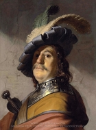 Bust of a man in a Gorget and a Feathered Beret painting reproduction, Rembrandt Van Rijn