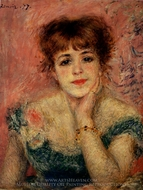 Bust of Jeanne Samary (Day-Dreaming) painting reproduction, Pierre-Auguste Renoir