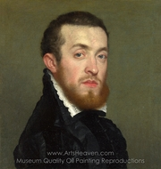 Bust Portrait of a Young Man with an Inscription painting reproduction, Giovanni Battista Moroni