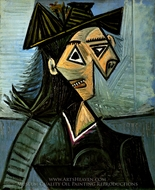 Buste de Femme au Chapeau a Fleurs painting reproduction, Pablo Picasso (inspired by)