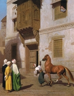Cairene Horse Dealer (The Horse Market) painting reproduction, Jean-Leon Gerome