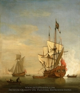 Calm: An English Sixth-Rate Firing a Salute as a Barge Leaves with a Royal yacht Nearby painting reproduction, Willem Van De Velde