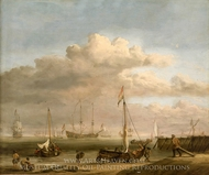 Calm: the Dutch Coast with a Weyschuit Being Launched and Another Vessel Pushing off from the Shore painting reproduction, Willem Van De Velde