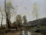 Canal in Picardi painting reproduction, Jean-Baptiste Camille Corot
