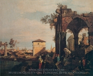 Capriccio: Ruins painting reproduction, Canaletto