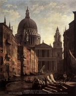 Capriccio: St. Paul's and a Venetian Canal painting reproduction, Canaletto