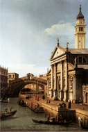 Capriccio: with S. Giorgio Maggiore and the Rialto Bridge painting reproduction, Canaletto