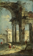 Caprice View with Ruins painting reproduction, Francesco Guardi