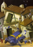 Car Bomb painting reproduction, Fernando Botero