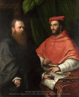 Cardinal Ippolito de' Medici and Monsignor Mario Bracci painting reproduction, Girolamo Da Carpi