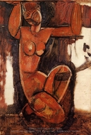 Caryatid painting reproduction, Amedeo Modigliani
