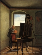 Caspar David Friedrich in His Studio painting reproduction, Caspar David Friedrich