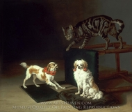 Cat Playing with Two Dogs painting reproduction, Paulus Potter