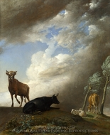 Cattle and Sheep in a Stormy Landscape painting reproduction, Paulus Potter