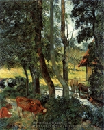 Cattle Drinking painting reproduction, Paul Gauguin