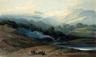 Cattle Resting in a Mountainous Landscape painting reproduction, George Chinnery
